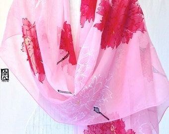 Hand Painted Silk Shawl, Pink Silk Scarf, Silk Chiffon Wrap, Pink Japanese Retro Carnation Floral Silk Wrap, 22x90 inches, Made to order