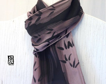 Handpainted Silk Scarf Men, Gray Brown Scarf, Zen Bamboo Japanese Mens Scarf. Mens Silk Scarf, Holiday Gifts for men. Approx 7.5x52 inches.