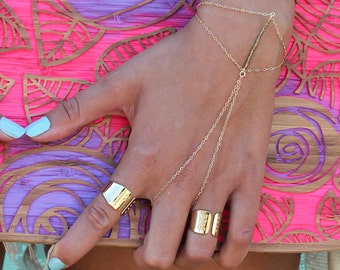 Gold Ring and Bracelet Combo, Boho Gold Bracelet, finger bracelet chain / Bohemian Jewelry