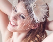 Champagne Ivory Bridal Head Piece Champagne Peacock Feather Hair Clip Vintage Inspired Ivory Wedding Hair Piece, Wedding Hair Accessories