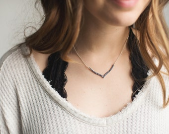 Crushed Crystal Druzy Curved Chevron Necklace