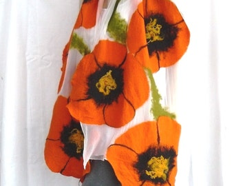 Nuno felted shawl - large scarf - wool and silk - an orange  and white scarf