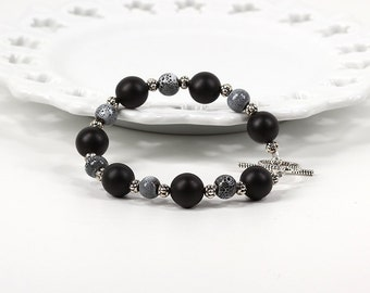 Black and Gray Beaded Bracelet with Toggle Clasp