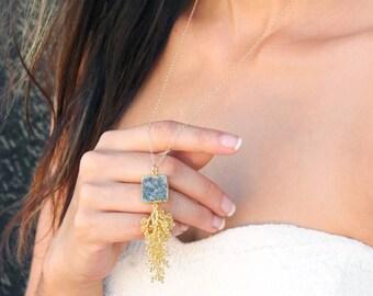Square Gray Druzy Hand Sewn Tassel Gold Gemstone Necklace