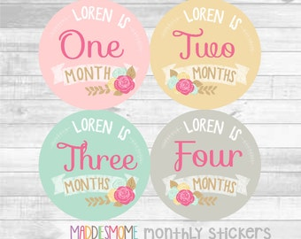 CUSTOM Baby Girl Month Stickers Personalized with Baby's Name Monthly Baby Stickers Milestone Stickers Bodysuit Floral (Loren Flowers)