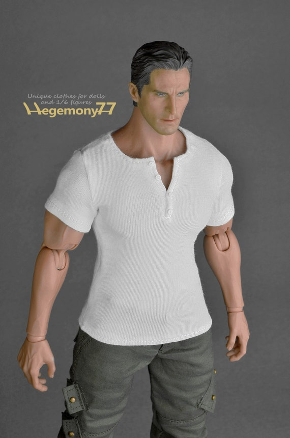 1/6th scale XXL white short sleeves henley shirt for: Hot Toys TTM 20 size bigger action figures and male fashion dolls