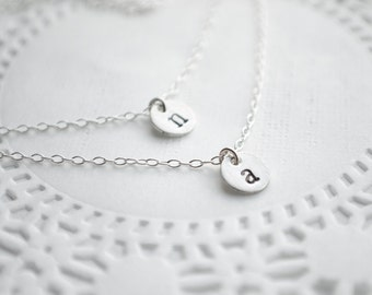 Layered Initial Necklace | Sterling Silver Two Initials or Birthstones  |  Layering Jewelry | Tiny Discs or Personalized Birthstone Crystals