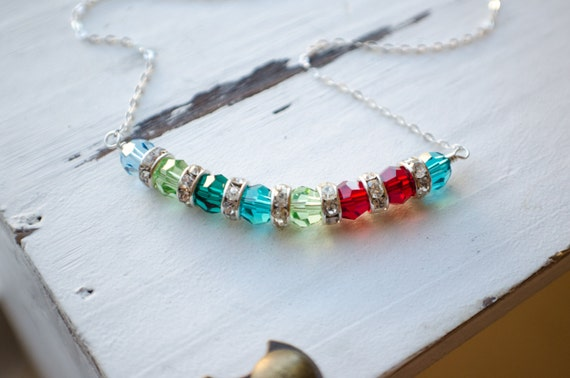 Personalized Necklace | Family Birthstone Necklace | Large 5 to 12 Children | Swarovski Crystals | Mother Grandmother Keepsake Necklace