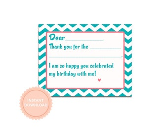 INSTANT DOWNLOAD, BOUNCE House Birthday- Fill In Thank You Note- Pink and Teal Chevron