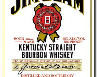 Jim Beam White Label Metal Tin Advertising Sign Bar Pub Man Cave Restaurant Decor Made In USA