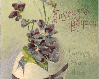 Easter Egg with Violets & Ribbon Antique French Postcard Chromo Post Card from Vintage Paper Attic