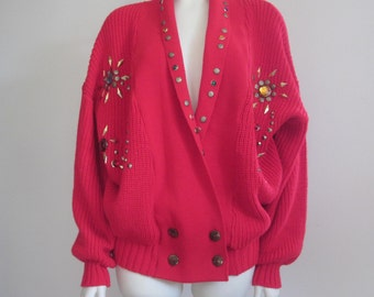 Embellished Sweater / 1980s / Red Cardigan / Jeweled
