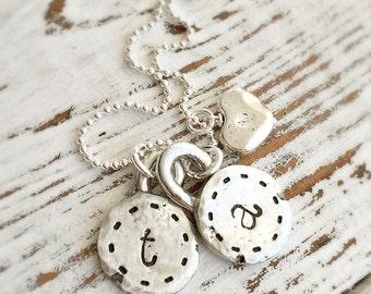 Initials Charm Necklace . Initials Necklace . Pewter Jewelry . Organic Jewelry . Handmade Jewelry . Personalized Jewelry