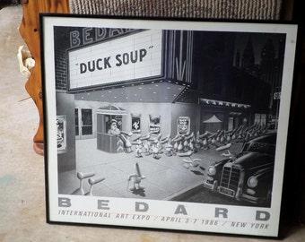 Black & White BEDARD/Duck Soup/Framed Metal Black/MARX BROS/Vintage 1986