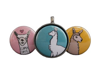 Llama Love Necklace Set - Set of Three Interchangeable Llama Magnets with Pewter Pendant - Magnetic Llama Necklace