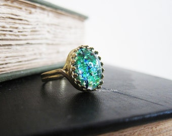 Fire Opal Ring Harlequin Opal Ring Green Blue Emerald Ring Aqua Teal Statement Ring Gift Ombre Gold Brass Silver Ring Whimsical Ethereal