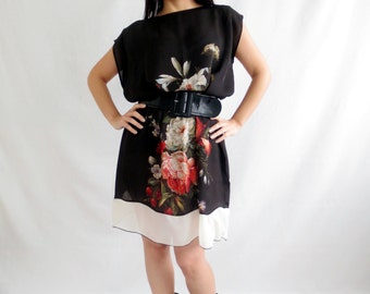 Black tunic dress, silk tunic, silk dress, silk blouse, plus size dress, floral dress,women clothes,boho dress, black silk tunic,black tunic