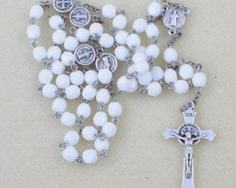 Saint Benedict Rosary - White 6mm Glass Beaded Rosary (Czech glass) with St. Benedict Medals for the Our Father beads - Christmas Gift