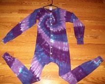 S M L XL Tie Dye Long Johns, Tie dye union suit, pajamas, adult onesie, Purples tie dye thermal