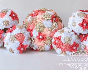 Bridesmaids Brooch bouquet, coral peach and white brooch bouquets.