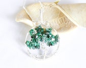 Tree of Life Pendant , Emerald Necklace , May Birthstone