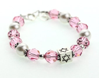 Pink Crystals and White Pearls With Sterling Silver Star of David Bracelet (B133)