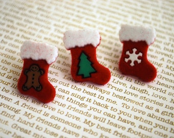 Christmas Stocking Earrings -- Christmas Stocking Studs, Stocking Studs, Christmas Earrings, Stocking Stuffer