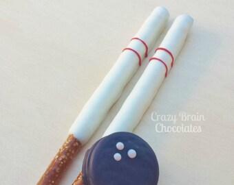 Chocolate Bowling Oreos and Pretzels set (12)