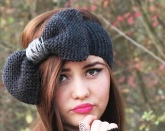 Hand Knitted Bow Headband Charcoal Gray, Ear Warmer, Gray, Fall Hair Band, Knit Fashion Accessory, Cozy, Wide Bow Ear Warmer, Accessory grey