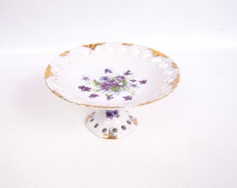 Vintage Lefton China Pedestal Dish Purple Violets Compote Lattice Candy Dish Reticulated Dish Made in Japan Hand Painted Porcelain