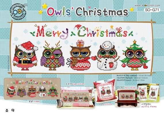 Cute modern christmas cross stitch patterns and kits  owl
