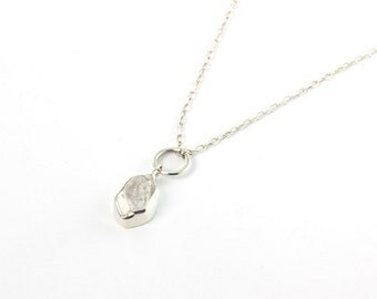 Herkimer Diamond Cluster Necklace with Ring In Silver