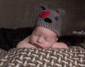 Gray Puppy Hat, Baby Puppy Hat, Dog Hat, Baby Puppy Hat, Baby Dog Hat, Newborn Puppy Hat, Baby Halloween Hat, Baby Hat, Baby Boy Hat,