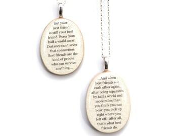 Best friend necklace set wood best friend jewelry going away gift friendship necklace personalized jewelry graduation gift  best friends