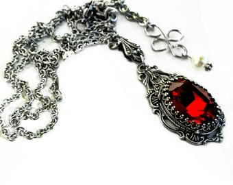 Gothic Necklace Red Swarovski Necklace Red Crystal Necklace Vintage Necklace Aged Silver Renaissance Victorian Bridal Necklace