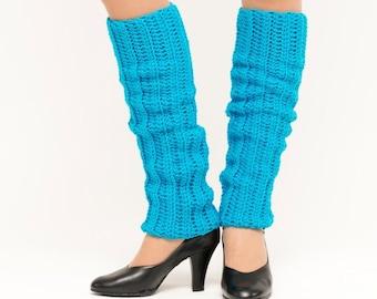 SALE--Bright Blue Knit Leg Warmers, Crocheted Leggings, Handmade Women's Winter Accessory, Dance Wear, Exercise, Ballet, Jazz 80's Style