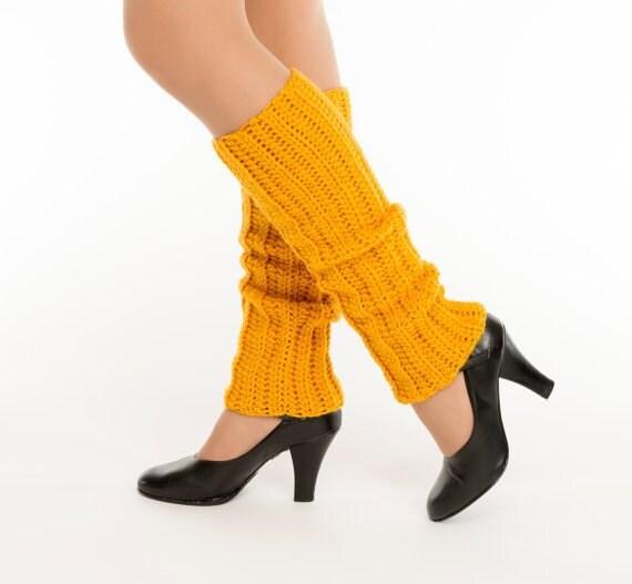 Mustard / Gold Crocheted Leg Wamers, Handmade Ankle Warmers, Dance Wear, Ballet,  Knit, Women's Warm, Soft Winter Accessory, 80s Style