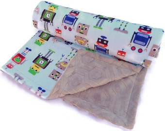 Robots Baby Blanket with Silver Minky - Baby Blanket - Minky Baby Blanket - Robot Baby Blanket - Baby Boy Blanket - Baby Blanket Boy