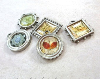 5 Art Print Charms Pendants DIY Jewelry Making Silver Metal Charms 5 pieces