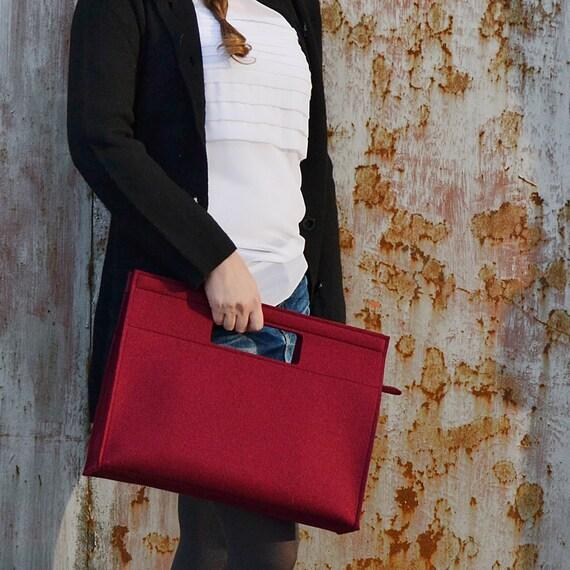 SALE - Felt HANDBAG / burgundy bag / wool felt bag / felt handbag / womens bag / square bag / handmade in Italy