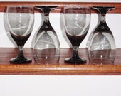 """4 LIBBEY CLASSIC SMOKE Gray Black 7"""" Footed Iced Tea Water Goblets Tumblers Glasses Rock Sharpe Crystal Heavy Four Set Excellent Condition"""