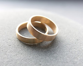 4mm + 5mm 9ct yellow gold wedding ring set in flat profile, brushed finish - made to order