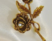 Vintage / Goldette Rose Brooch / Rose Pin / Gold-Tone Pin / With Accent Clear Rhinestones