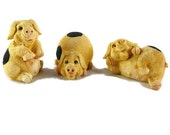Vintage, Pig Figurines, Character Pigs, Three Little Pigs, Textured Ceramic, Pigs Figurines, 3 Piece Set