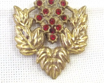 Vintage Dress Clip,  Red Rhinestone Jewelry, Costume Accessory, Wedding Jewelry, Gift for Her
