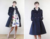 SONIA RYKIEL navy blue virgin wool double breasted princess peacoat