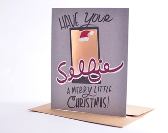 Christmas Cards Funny Christmas Card Set of Selfie Christmas Card -  Holiday Set / Have Your Selfie A Merry Little Christmas Card Pack
