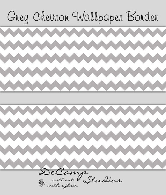 Like this item? - GREY GRAY CHEVRON Wallpaper Border Wall Decal Baby Girl Boy