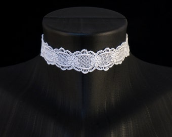 Simple White Lace Choker Necklace - Romantic, Floral, Bridal, Lingerie, Jewelry, Woman, Chocker