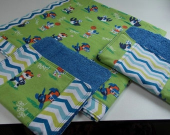 Set 1 handmade large flannel boy baby, toddler blanket, 2 burp clothes, sports, blue green orange, puppies dogs, crib, receiving, reversible